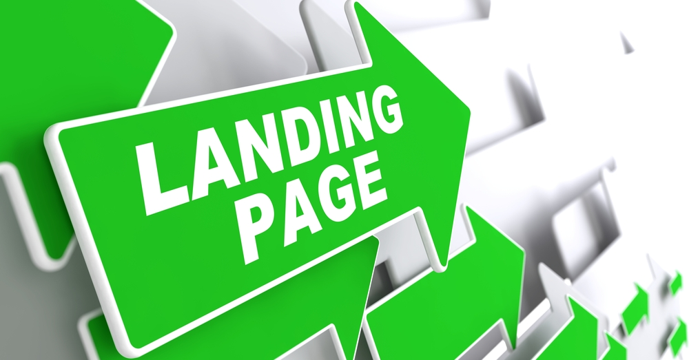 Landing Page. Green Arrows with Slogan on a Grey Background Indicate the Direction.